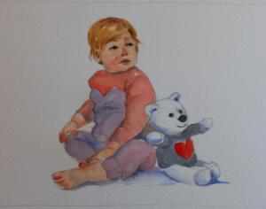 cute kid with teddy
