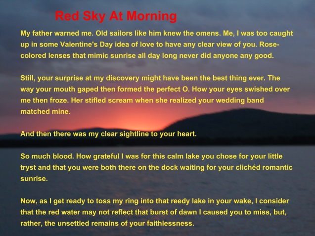 Red Sky At Morning by Kathleen Cassen Mickelson