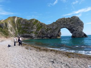 Durdle Door, a natural limestone arch on the Jurassic Coast in Dorset, England.