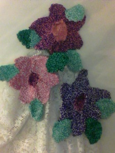 Some of Stacey's crocheted flowers.