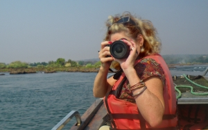 ‎The author on the Zambezi River heading to the edge of Victoria Falls.