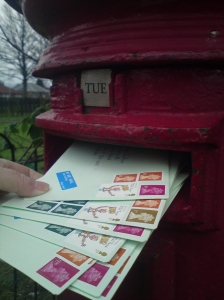 Last year Mahri was caught up in a postcard obsession, sending cards all over the world, and receiving the same; she now has a broad band of them around her hall walls - they go across the doors too.