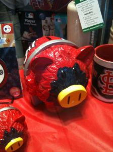 Genetically modified piggy bank, a twenty-first century chimera that is actually being marketed today by the St. Louis Cardinals.