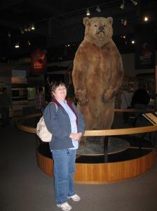 Eileen meeting a bear in Alaska.