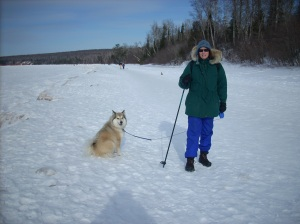 Bijou and Beth on Lake Superior.