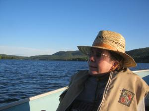 Her New Hampshire relaxing-in-the-boat-on-Mascoma-Lake persona.