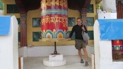 Michael turning a prayer wheel at the Dalai Lama's temple in Dharamshala, India.