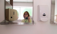 The Sweet Briar Chapel Restroom in Amherst Virginia--during Lois's stay at Virginia Center for Creative Arts in 2011.