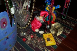 Gipsy cards, beads, siver coins photo for postcard poems and prose
