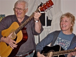 The author and her father rocking out (no threat to Eric Clapton).