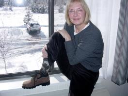 Snowed in at Yellowstone. Note new warm buffalo socks.