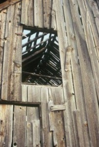 vertical of barn roof collapsing