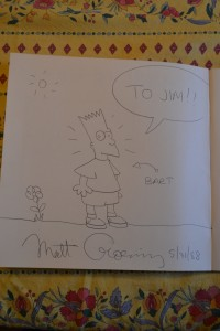 Autographed drawing of Bart Simpson.