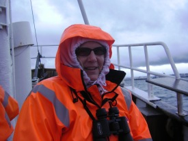 The author on a puffin-watching excursion aboard The Lundi, Reykjavík, Iceland, July 2014.