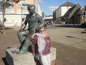 Dylan Thomas posing with the author.