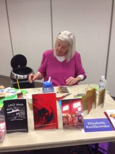 """This is what I look like at a library author event, so boring. Writer Kathleen McGookey and I made Christmas cards."""