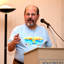 Reading prize-winning poetry at a Knoxville Writers' Guild meeting, Knoxville, TN, 2014.