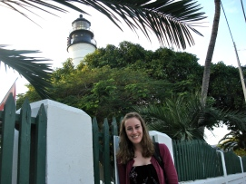 In front of the lighthouse in Key West, Florida, during the Key West Writers Conference.