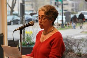 Reading at open mic.
