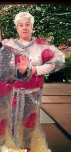 Roberta wears a handmade Valentine's day kimono made of bubble-wrap, seamed with duct-tape and decorated with hearts.