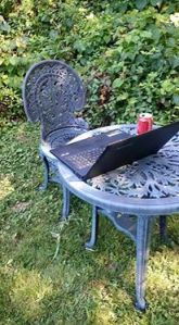 The author's outside writing desk.