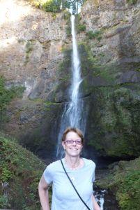 Mary at Multnomah Falls.