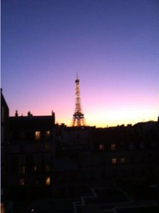 Sunset with Eiffel tower by Irwin.