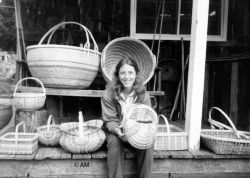 Alice Morris and the white oak baskets that she made by hand- from trees. Photo credit Ronald Morris